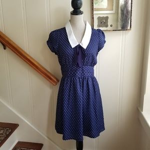 Navy and white pin dot school girl style dress